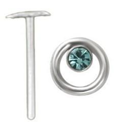 Piercing nez pliable 0.5mm 112 - Esclave strass bleu-clair