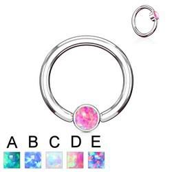 Piercing anneau 1,6mm 85 - Opale plate