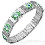 Bracelet acier flex 15 - Drapeau Brésil