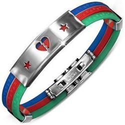 Bracelet caoutchouc 80 - Trois couleurs coeur