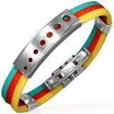 Bracelet caoutchouc 83 - Trois couleurs ronds