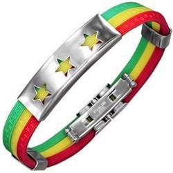 Bracelet caoutchouc 84 - Trois couleurs étoiles