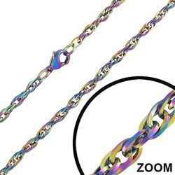 Chaine PVD rainbow mailles 2mm