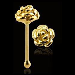 Piercing stud de nez 0.5mm 61 - Or-9k fleur