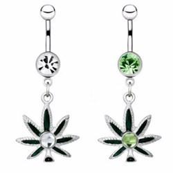 Piercing nombril cannabis 22 - Vert strass