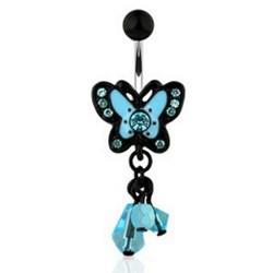 Piercing nombril papillon bleu strass pendants (14)