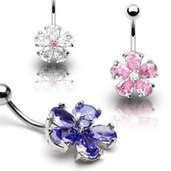 Piercing nombril fleur 15 - Cristal