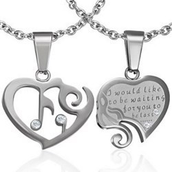 Pendentif pour couple 43 - Deux coeurs gris