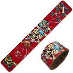 Bracelet en cuir tattoo 03 - Rouge crâne et serpent