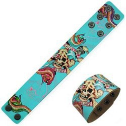 Bracelet en cuir tattoo 06 - Turquoise crâne et serpent