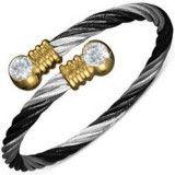Bracelet cable 12 - Noir, argenté et gold-ip