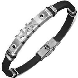Bracelet prestige 08 - Caoutchouc et acier