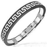 Bracelet caoutchouc 87 - Noir et blanc ligne Grecque