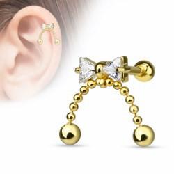 Cartilage hélix, tragus 122 - Noeud papillon plaqué-or