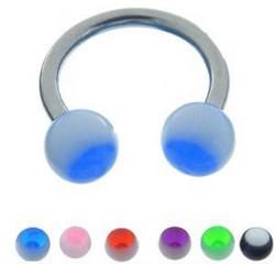 Piercing micro-circulaire 74 - UV boules bicolores