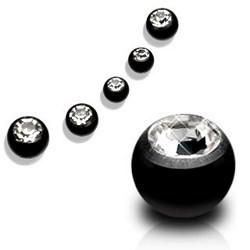 Boule black avec cristal 1,6mm