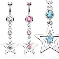 Piercing nombril étoile 30 - Creuse avec zircone